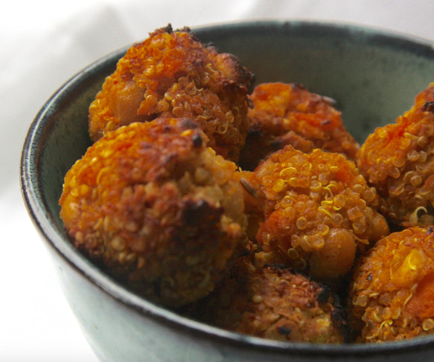 quinoa and sweet potato falafels close up