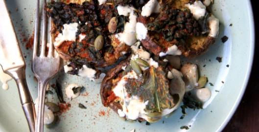 roasted mushrooms pumpkin seeds kale